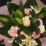 Lily,roses & Carnation Hand tied bouquet £30.00