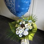 baby boy balloon and hand tied bouquet